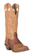 Boulet Men's Cognac and Butterscotch Western Round Toe Boots
