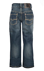 Rock & Roll Cowboy Medium Wash Khaki Pocket Stitching Regular Fit Boot Cut Jeans