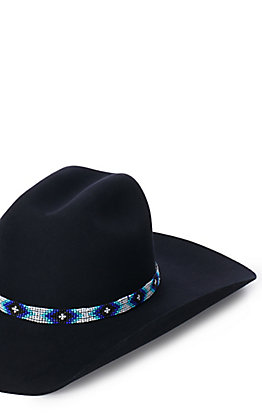 Blue and White Beaded Hat Band