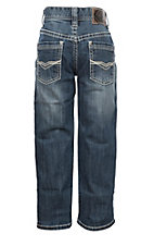Rock & Roll Cowboy Boys' BB Gun Revolver Medium Wash Wide Ivory V Stitched Pocket Slim Fit Straight Jeans
