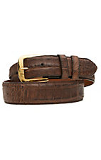 Black Jack Mens Burnished Brown Caiman Crocodile Belly Belt