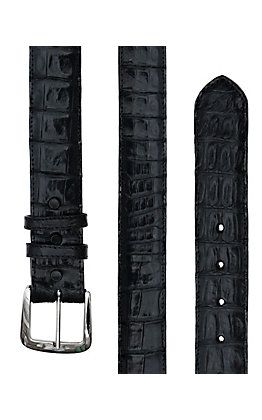 Black Jack Mens Black Caiman Crocodile Belly Belt