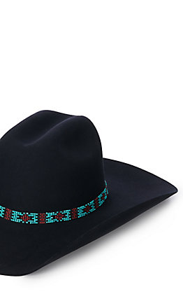 Turquoise Red and Black Beaded Hat Band