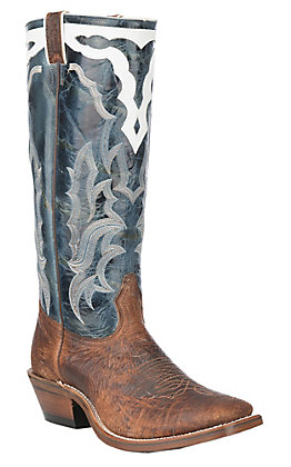 Boulet Boots Men's Light Brown and Blue Shrunken Bison Buckaroo Western Square Toe Boots