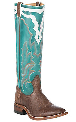 Boulet Boots Women's Chocolate Brown and Turqueza Wide Square Toe Buckaroo Western Boot