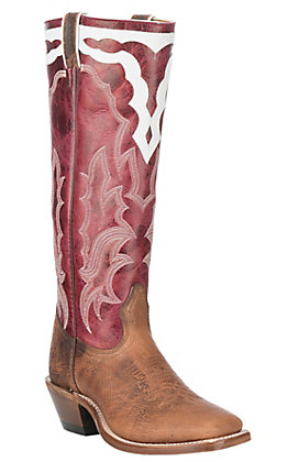 Boulet Boots Women's Light Brown Bison and Red Wide Square Toe Buckaroo Western Boots