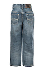 Rock & Roll Denim Boys' Medium Wash Running Stitch Boot Cut Jeans