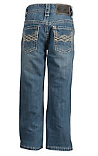 Rock & Roll Cowboy Boy's Medium Vintage Wash Criss Crossing V Running Stitch Regular Fit Boot Cut Jeans