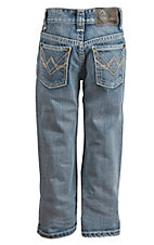 Rock & Roll Cowboy Boy's Light Wash Abstract A Running Stitch Regular Fit Boot Cut Jeans
