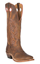 Boulet Boots Men's Distress Brown Shrunken Bison With Rough Rider Amber Gold Top Wide Square Toe Boot