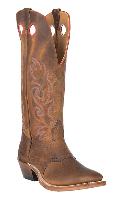 4f15ba89bf5 Boulet Boots Men's Distress Brown Shrunken Bison With Rough Rider Amber  Gold Top Wide Square Toe Boot