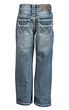 Rock & Roll Cowboy Boy's Medium Wash with Deep V Embroidery Open Pocket Regular Fit Boot Cut Jeans