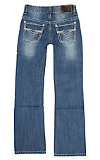 Rock & Roll Cowboy Boy's Medium Wash with Heavy Multi Stitch Open Back Pocket Regular Fit Boot Cut Jeans