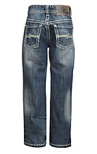 Rock & Roll Cowboy Boy's Medium Wash with Cream Embroidery Open Pocket Regular Fit Boot Cut Jeans