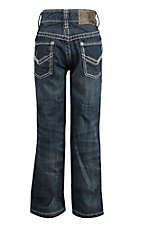 Rock & Roll Cowboy Boy's Dark Wash with Cream Embroidery Relax Fit Jeans