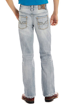 Rock & Roll Denim Light Wash Boys V Stitch Regular Fit Boot Cut Jeans