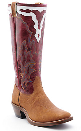 Boulet Boots Men's Rough Rider Distress Brown Shrunken Bison and Amber Gold Buckaroo Square Toe Western Boot