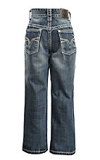 Rock & Roll Cowboy Boy's Medium Wash with Crossing V Embroidery Open Pocket Regular Fit Boot Cut