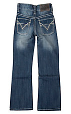 Rock & Roll Cowboy Boy's Medium Wash Raised Denim Double V Boot Cut Jeans