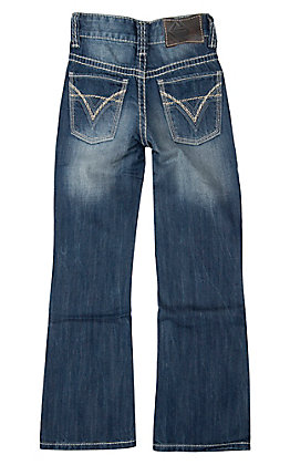 Rock & Roll Cowboy Boys' Medium Wash Raised Denim Double V Boot Cut Jeans