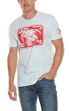 Lazy J Ranch Men's Baby Blue & Red Elevation Graphic T-Shirt
