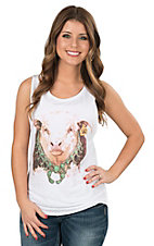 Lazy J Ranch Wear Bull Blossom Hereford White Tank