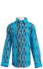 Wrangler Boys Blue Checotah Print Long Sleeve Western Snap Shirt
