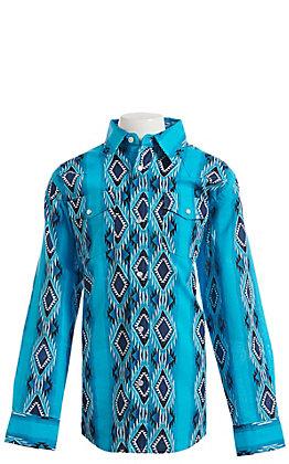 Wrangler Boys Blue Checotah Print Long Sleeve Western Snap Shirt