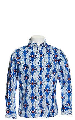 Wrangler Boy's Checotah Blue Aztec Print Long Sleeve Western Shirt