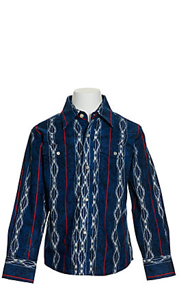 Wrangler Boys' Checotah Blue Aztec Long Sleeve Western Shirt