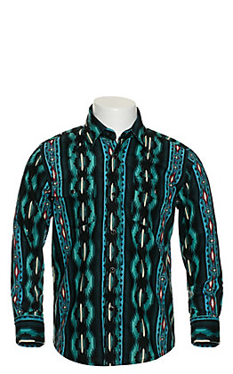 Wrangler Boys' Checotah Teal & Black Aztec Long Sleeve Western Shirt