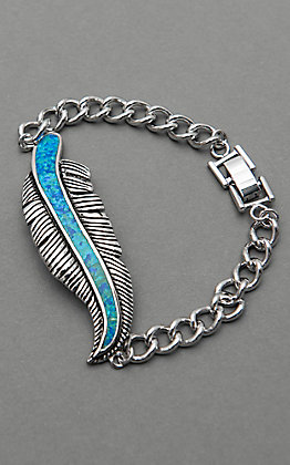 Montana Silversmiths Opal Feather Link Bracelet