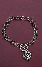 Montana Silversmiths Silver Link Bracelet with Scroll Heart Charm