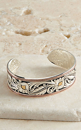 Montana Silversmiths Leather Pattern Cuff Bracelet
