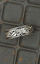 Montana Silversmiths Silver and Black Leather Pattern Cuff Bracelet