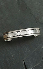 Montana Silver Smith Silver Wheat Prin with Black Cuff Bracelet