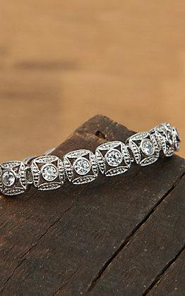 Montana Silversmiths Silver Square Chain Crystal Bracelet