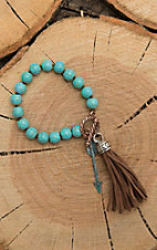 Southern Junkie Turquoise Beaded wih Tassel Toggle Bracelet