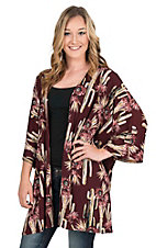 James C Women's Burgundy Floral Print Long Sleeve Kimono