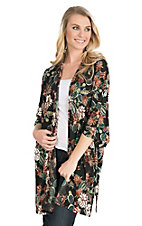 James C Women's Black and Olive Cactus Print Long Sleeve Kimono