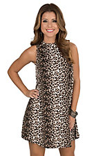 Black Bead Women's Brown and Black Leopard Print Sleeveless Dress
