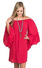 Black Bead Women's Red with Elastic Neckline 3/4 Bell Sleeve Dress