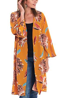 Cowgirl Legend Women's Mustard Headdress Print Kimono