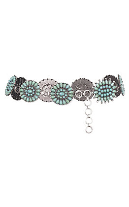 Women's Round Link Turquoise Belt