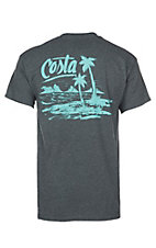 Costa Dark Heather Dark Grey and Aqua Beachside S/S T-Shirt