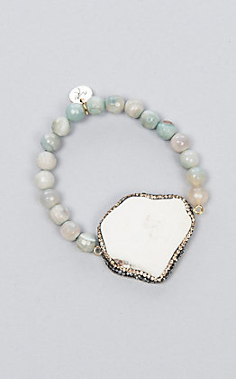 Laminin Women's Belle Striped Turquoise Beaded Bracelet