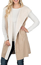 Anne French Faux Suede Hooded Vest