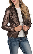 Montana Co. Women's Bronze Faux Leather with Knit Zip Up Jacket
