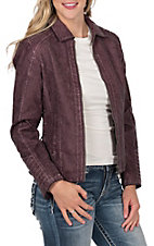 Montana Co. Women's Wine with Lace Up Sides Faux Leather Jacket