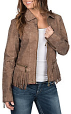 Montana Co. Women's Tan Faux Leather Fringe Jacket